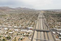 Aerial view of Juarez, Mexico and El Paso, Texas