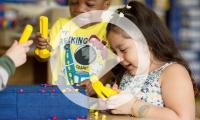 Preschool girl and boy hammering 35668258654_46de9bf058_z